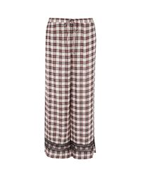 River Island Red Check Lace Trim Pyjama Trousers