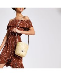 River Island Natural Straw Bucket Cross Body Bag