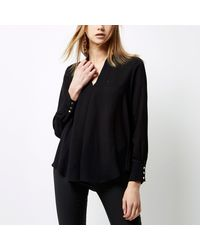River Island Black Pleat Loose Blouse