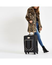 River Island Black Mixed Panel Suitcase