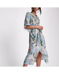 River Island Blue Floral Print Twist Front Dress