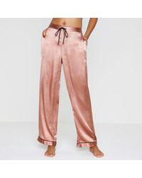 River Island | Pink Satin Pajama Bottoms | Lyst