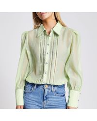 River Island Petite Green Embroidered Sheer Shirt