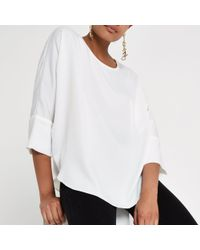 River Island White Loose Batwing Sleeve Top