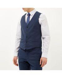 River Island Blue Wool-blend Smart Waistcoat for men