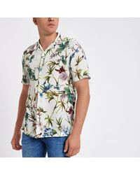 fa87d23a37 Lyst - River Island Floral Short Sleeve Shirt in White for Men