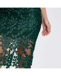 River Island Dark Green Floral Lace And Mesh Pencil Skirt