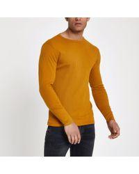 River Island Dark Yellow Ribbed Slim Fit T-shirt for men