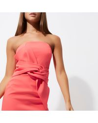 River Island | Orange Coral Twist Bandeau Bodycon Dress | Lyst