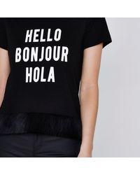 River Island Petite Black 'hello' Faux Fur Trim T-shirt