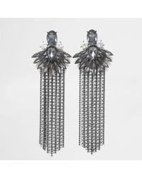 River Island - Gray Grey Jewel Cup Chain Tassel Drop Earrings - Lyst
