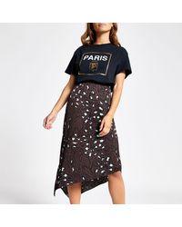 River Island Brown Petite Animal Print Slip Skirt