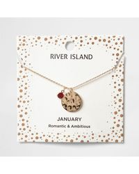 River Island - Red Gem January Birthstone Necklace - Lyst