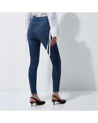 River Island Blue Harper High Waisted Skinny Jeans