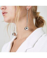 River Island - Metallic Silver Tone Cup Chain Drop Earrings - Lyst