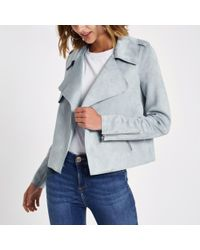 River Island Blue Light Faux Suede Cropped Trench Jacket