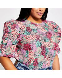 River Island Plus Pink Floral Frill Short Sleeve Top