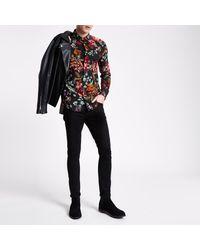River Island Black Floral Print Long Sleeve Slim Fit Shirt for men