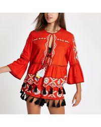 River Island Embroidered Tassel Kaftan Jacket