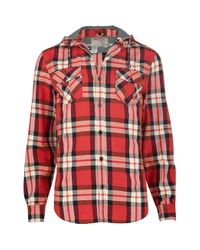 River Island Red Check Hooded Shirt for men