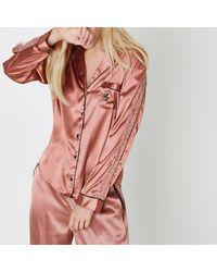 River Island - Pink Satin Lace Trim Pyjama Gift Box - Lyst