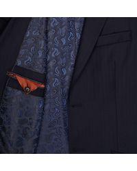 River Island Blue Navy Herringbone Life Of Tailor Suit Jacket for men