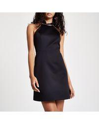 River Island Black Frill Halter Neck Mini Dress