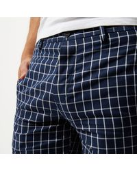River Island - Blue Navy Checked Slim Fit Chino Shorts for Men - Lyst