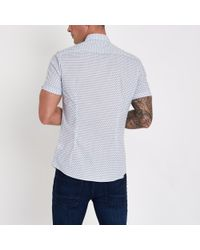 River Island - White Tile Print Muscle Fit Shirt for Men - Lyst