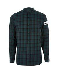 River Island Green Check Print Sleeve Grandad Shirt for men