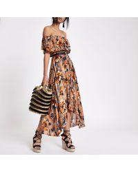 River Island Brown Floral Print High Low Hem Maxi Dress