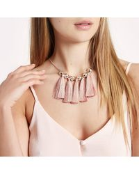 River Island - Metallic Gold Tone Pink Tassel And Diamante Necklace - Lyst