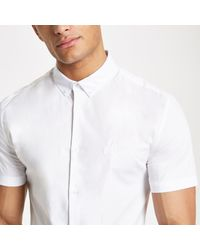 River Island White Muscle Fit Ri Embroidered Poplin Shirt for men