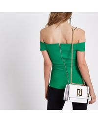 River Island - Green Structured Bardot Top - Lyst