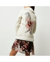 River Island Natural Faux Leather Floral Back Aviator Coat