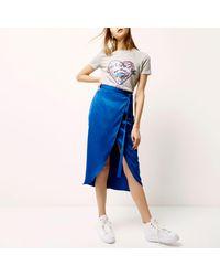 River Island Blue High Shine Wrap Midi Skirt