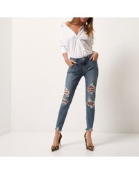 River Island Mid Blue Wash Alannah Relaxed Skinny Jeans