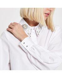 River Island White Embellished Collar Long Sleeve Shirt