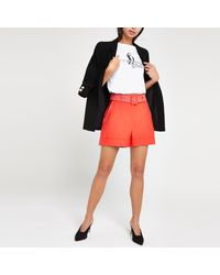River Island Multicolor Belted Shorts