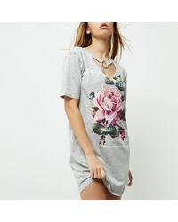 River Island Gray Grey Rose Print Choker Ring Oversized T-shirt