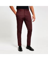 River Island Red Skinny Stretch Suit Trousers for men