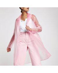 River Island - Pink Plastic Duster Rain Coat - Lyst
