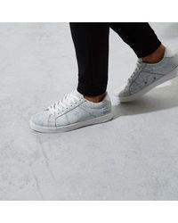River Island - White Cracked Coated Lace-up Trainers - Lyst