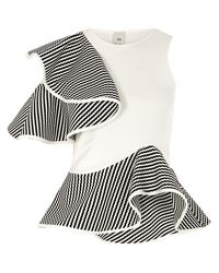 River Island White Frill Shoulder Peplum Fitted Top