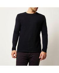 River Island - Blue Navy Textured Block Sweatshirt for Men - Lyst