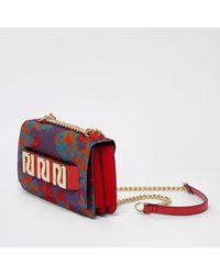 River Island Purple Jacquard Ri Branded Underarm Chain Bag