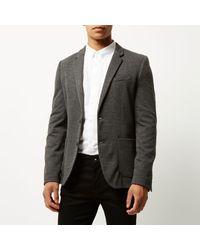 River Island Gray Grey Skinny Blazer for men