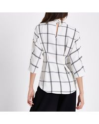 River Island White Check Eyelet Tie Up Front High Neck Top White Check Eyelet Tie Up Front High Neck Top