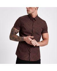 8ae78467 River Island. Men's Purple Burgundy Paisley Slim Fit Short Sleeve Shirt