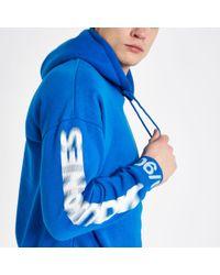 River Island Blue Jack & Jones Core Printed Sleeve Hoodie for men